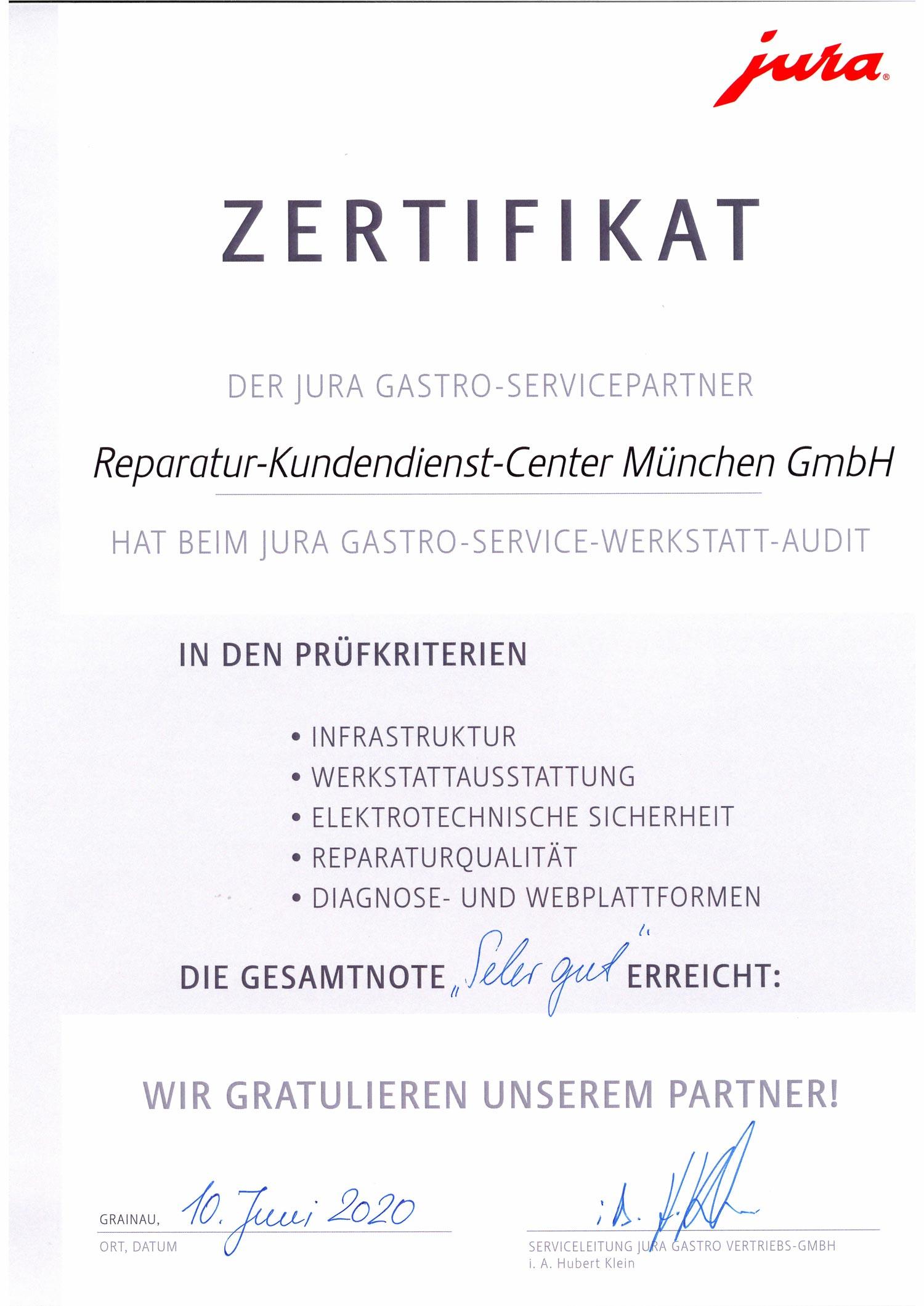 Jura Zertifikat - Kaffeemaschinen Reparatur Kundendienst Froschkönig München