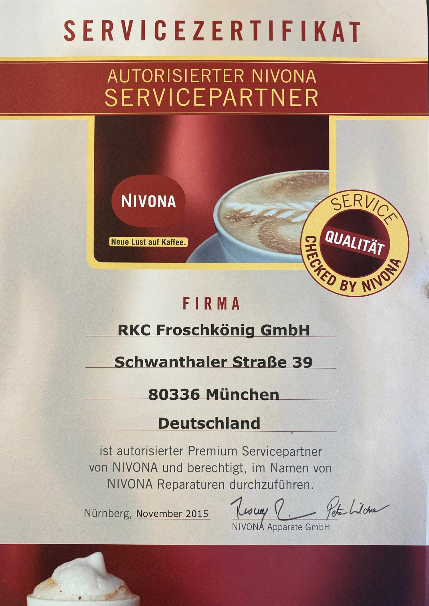 Jura Servicezertifikat - Kaffeemaschinen Reparaturservice Froschkönig München